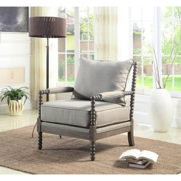 Shop Best Master Furniture Wood and Taupe Fabric Accent Armchair