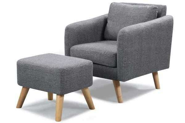 Best Fabric Armchairs Of Longdon Charcoal Fabric Armchair and
