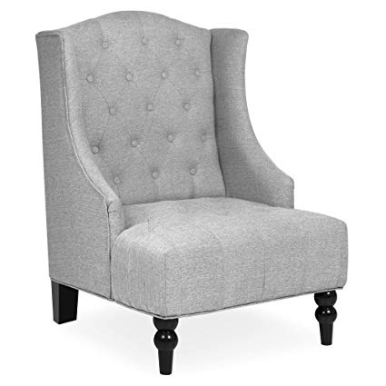 Amazon.com: Best Choice Products Tall Wingback Tufted Fabric Accent