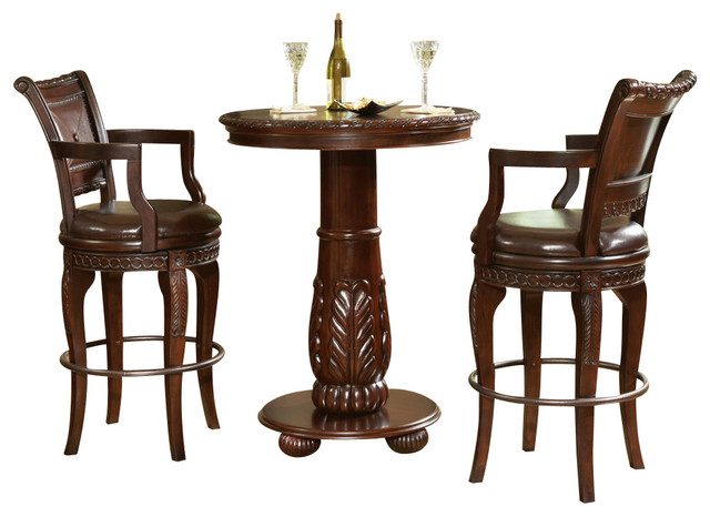 Steve Silver Antoinette 3-Piece Pub Table Set - Traditional - Indoor