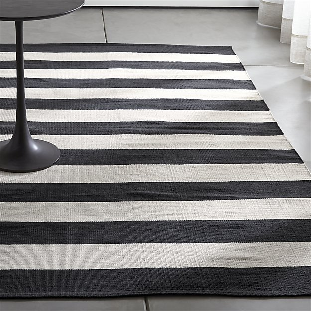 Olin Black Striped Cotton Dhurrie Rug | sharon | Pinterest | Striped