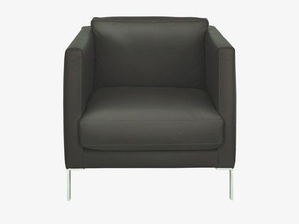 NEWMAN Black leather armchair | Armchairs