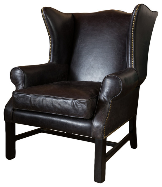 Bristol Black Leather Armchair - Transitional - Armchairs And Accent