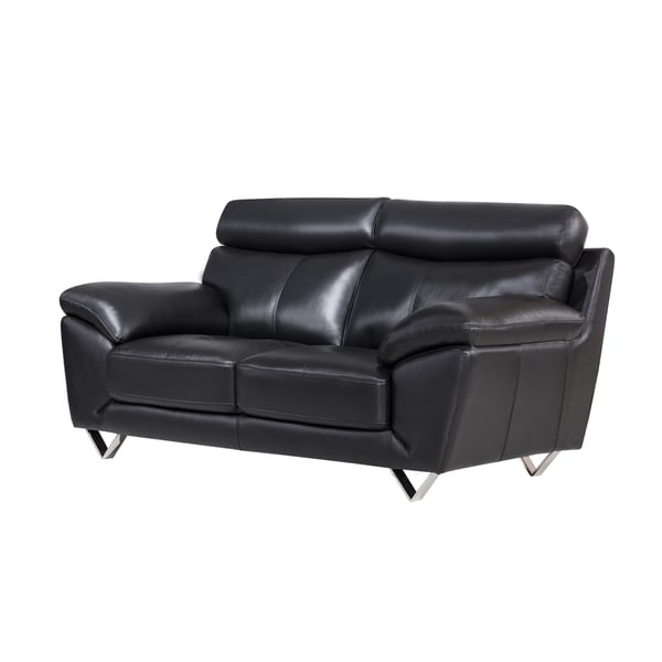 Shop Black Italian Leather Loveseat - Free Shipping Today
