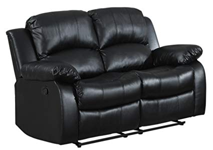Amazon.com: Homelegance Double Reclining Loveseat, Black Bonded