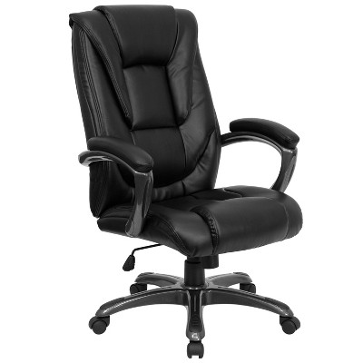 High Back Executive Swivel Office Chair Black Leather - Flash