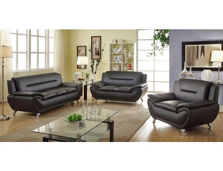 Mina Modern Black Leather Sofa Set
