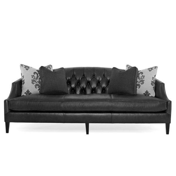 Bernhardt Diane Black Leather Sofa | Katzberry Home Decor