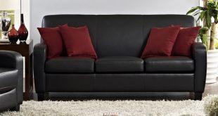 Mainstays Faux Leather Sofa, Black - Walmart.com