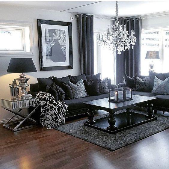 Beautiful black living room furniture