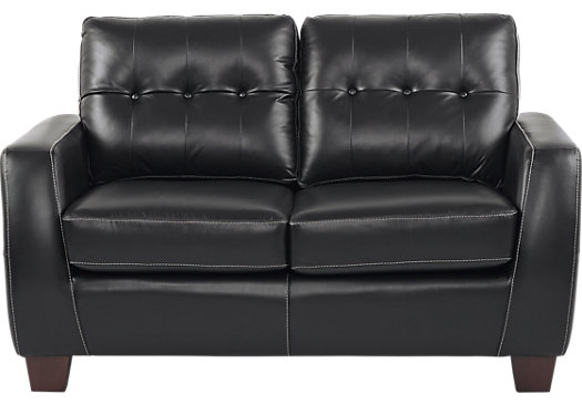 $779.99 - Santoro Black Leather Loveseat - Classic - Contemporary,