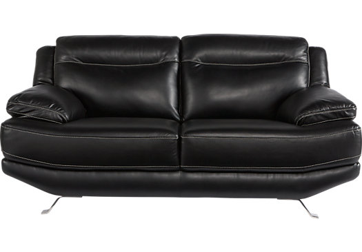 $878.00 - Castilla Black Leather Loveseat - Contemporary,