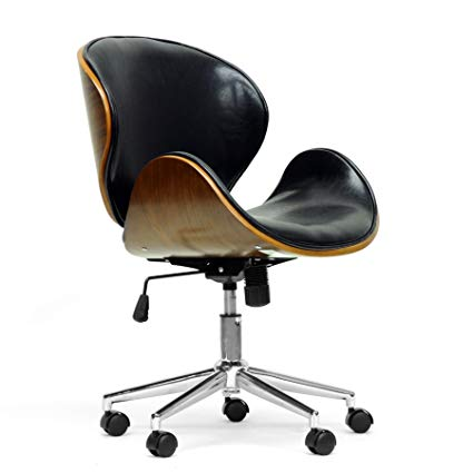 Amazon.com: Baxton Studio Bruce Modern Office Chair, Walnut/Black