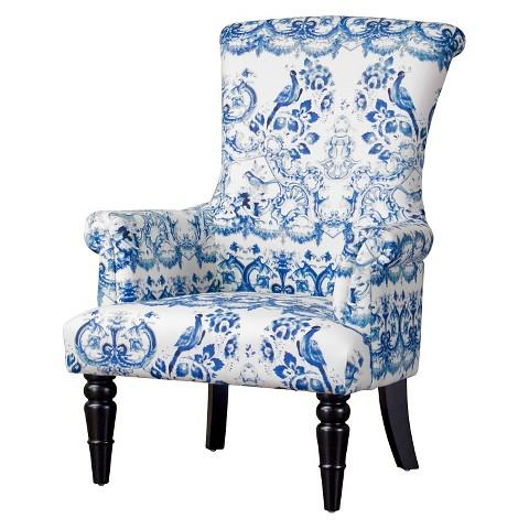 Baxton Studio Blue and White Upholstered Chair