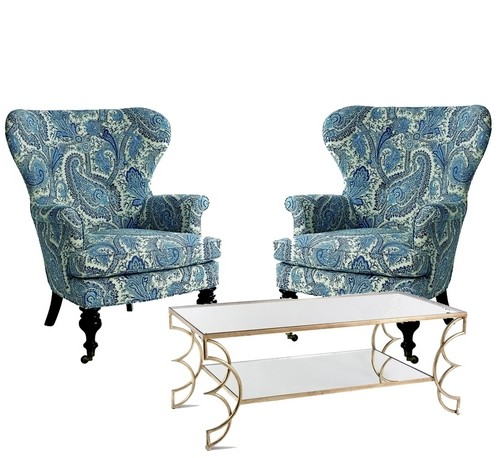 Mary Blue & White Paisley Wing Chair
