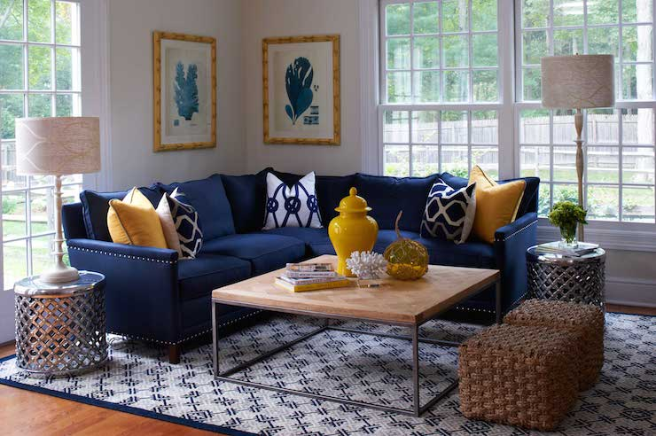 Navy Sectional - Transitional - living room - Lillian August