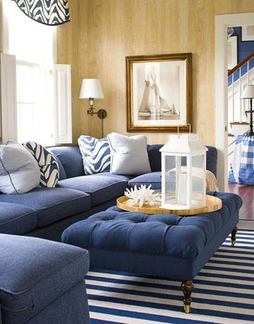 Navy Blue Sectional Sofa - Cottage - living room