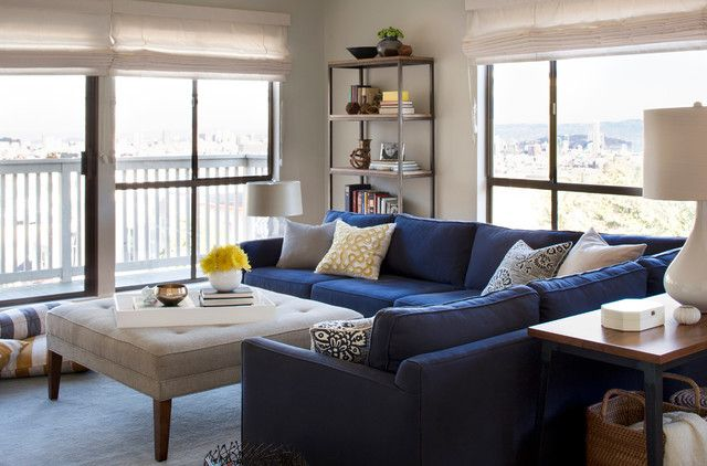 Brilliant Design of Living Room Applied Blue Sectional Sofa and