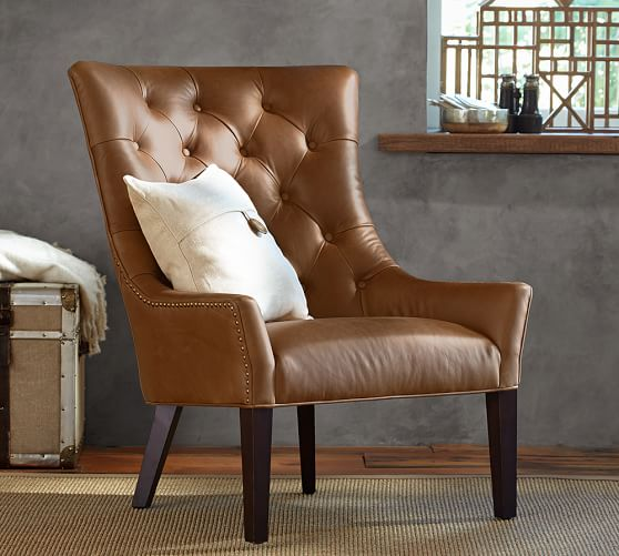 Hayes Tufted Leather Armchair | Pottery Barn