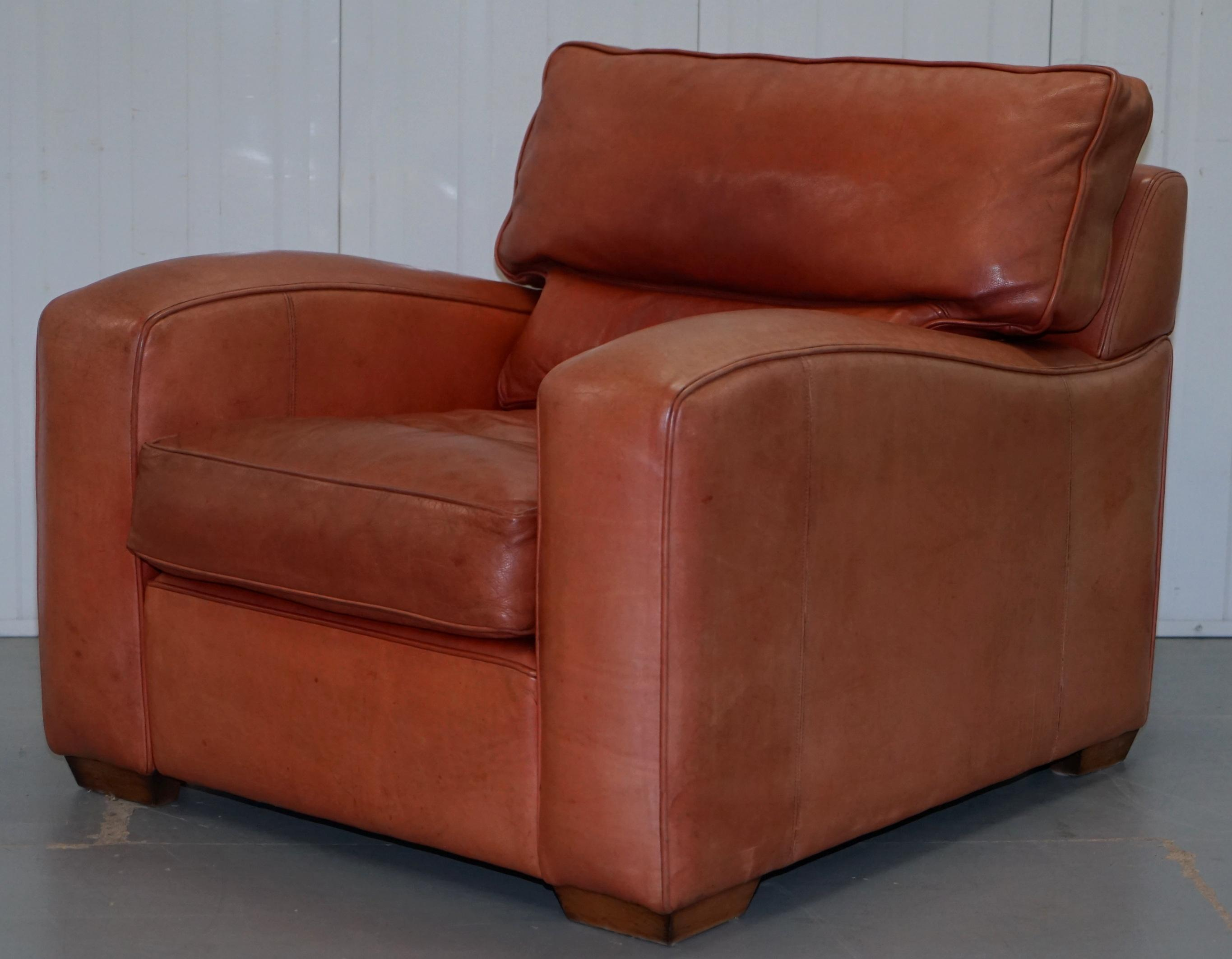 Duresta Panther Brown Leather Armchair and Oversized Plantation