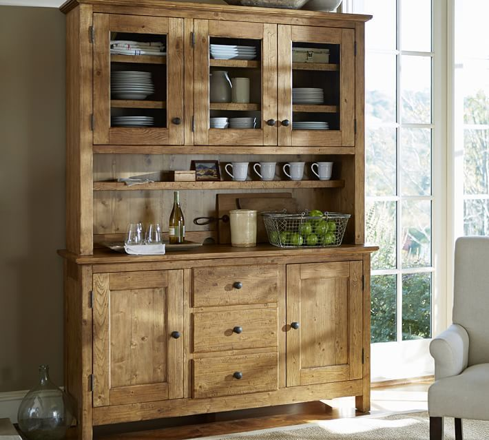 Benchwright Buffet & Hutch in vintage spruce finish | Interior
