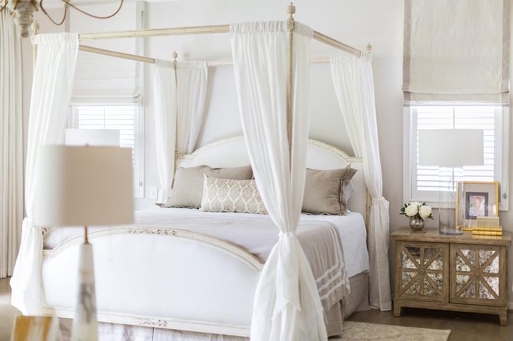 French Canopy Bed with Sheer Curtains Tied to Posts - Transitional