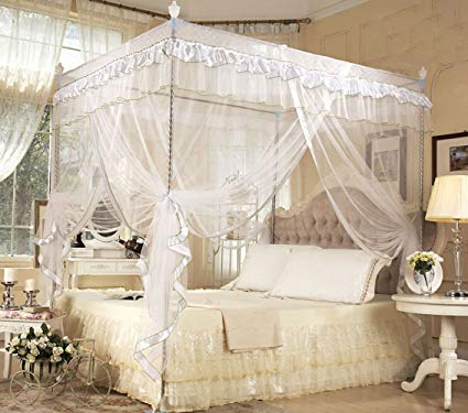 Amazon.com: Nattey 4 Poster Corners Princess Bed Curtain Canopy