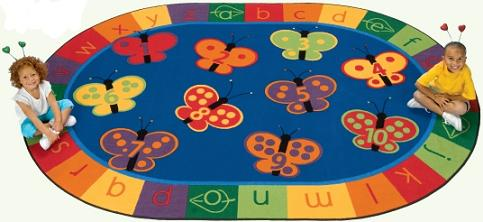 Carpets For Kids 8'X12', 123 Abc Butterfly Fun Rug Kidsoft, Oval