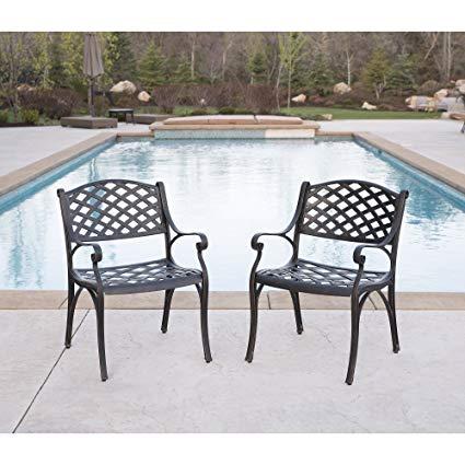 Amazon.com: WE Furniture Cast Aluminum Patio Chairs (Set of 2