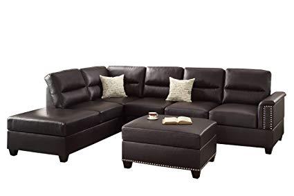 Amazon.com: Poundex F7609 Bobkona Toffy Bonded Leather Left or Right