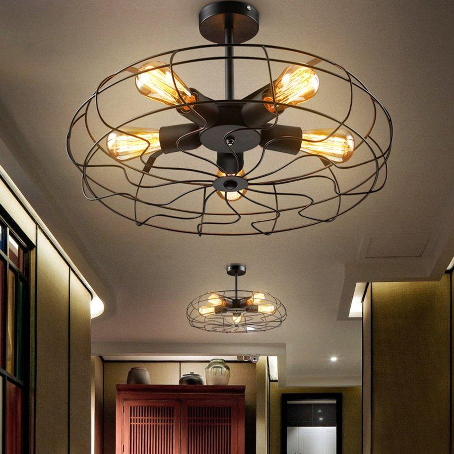 Industrial Vintage Metal Hanging Ceiling Chandelier Lighting w/ 5