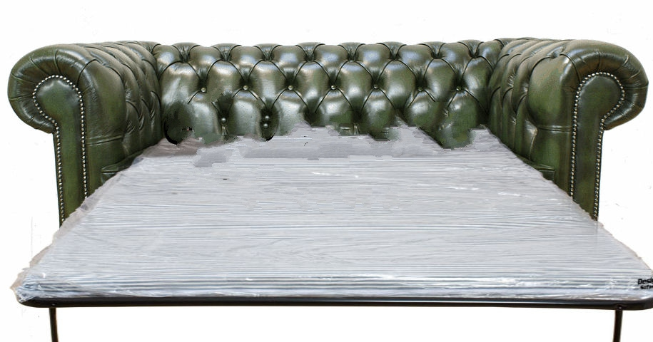 Buy green leather Chesterfield sofa bed at DesignerSofas4U