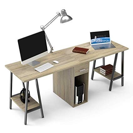 Amazon.com : DEWEL Two Person Computer Desk with Drawers 78'' Extra