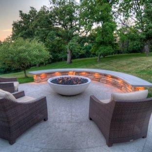 75 Most Popular Transitional Stamped Concrete Patio Design Ideas for
