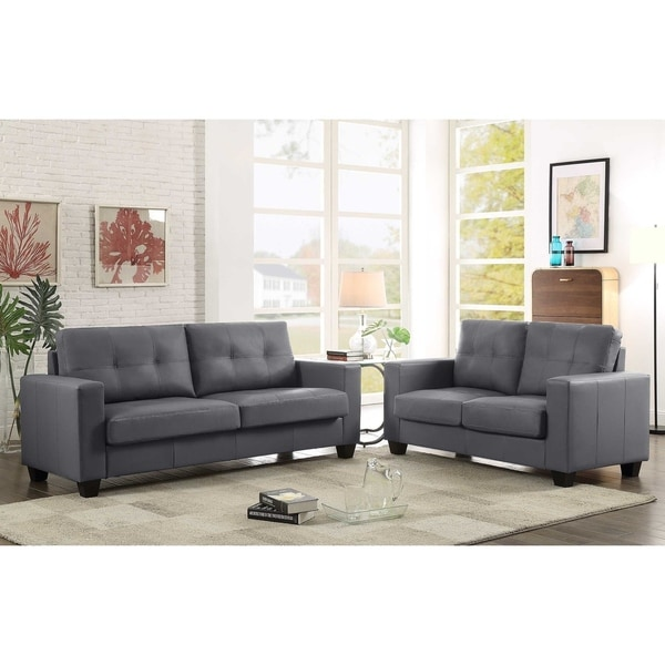 Shop 2Pc Contemporary Grey Leather Sofa & Loveseat Set - Free
