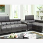 Contemporary grey leather sectional sofa