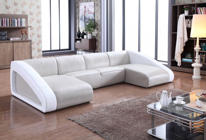VIG | VG2T0916-GRY Divani Casa Pratt Modern Grey & White Leather