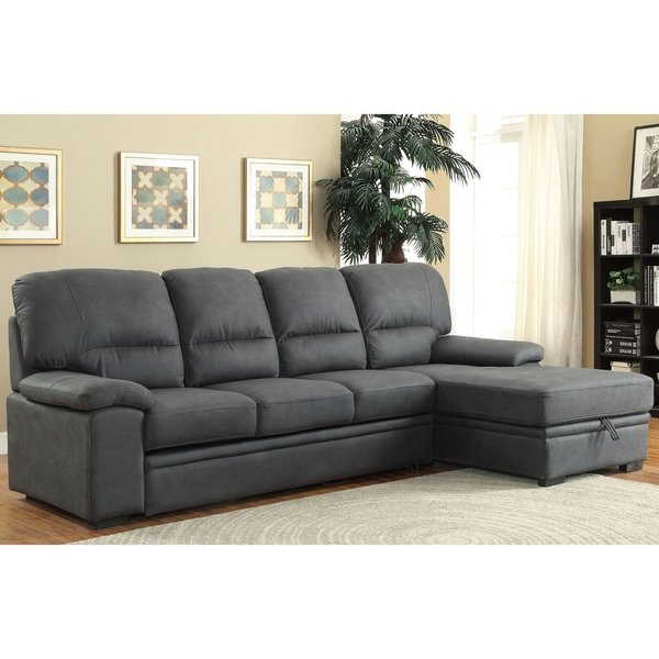 Shop Delton Contemporary Nubuck Leather Sleeper Sectional by FOA