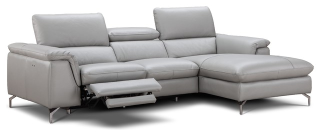 Serena Italian Leather Sectional Sofa With Power Recliner