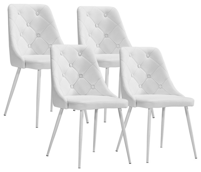 Set Of 4 Zuo Berry White Leatherette Modern Dining Chairs