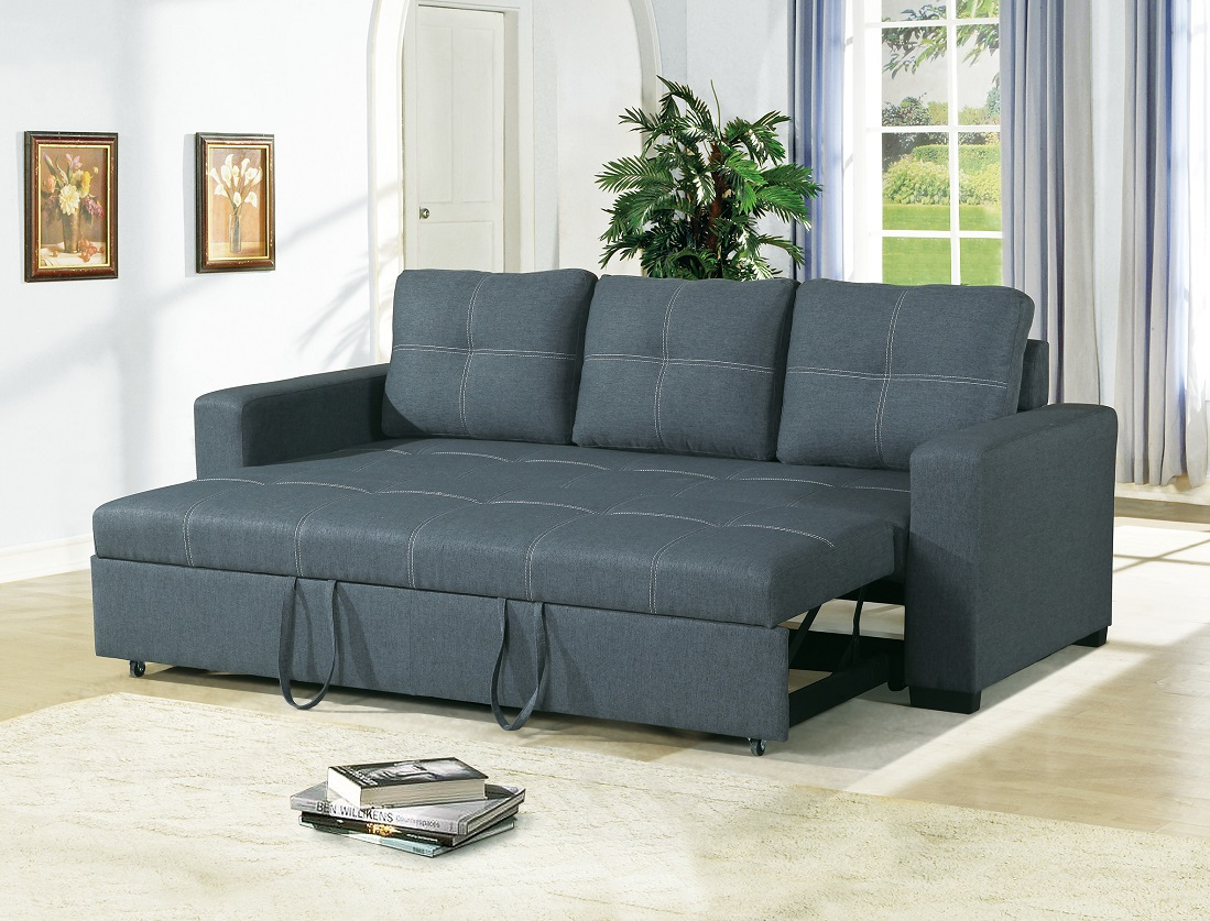 Convertible Sofa Bed Bobkona Living Room Sofa w Pull out Bed Accent