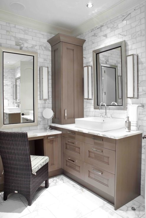 Design Galleria: Custom sink vanity built into corner of bathroom