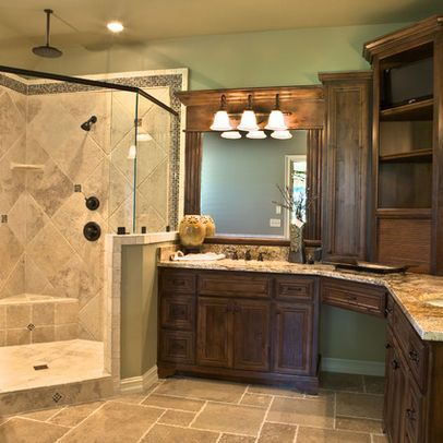 L Shaped Bathroom Vanity Design | Traditional Home Corner Vanity