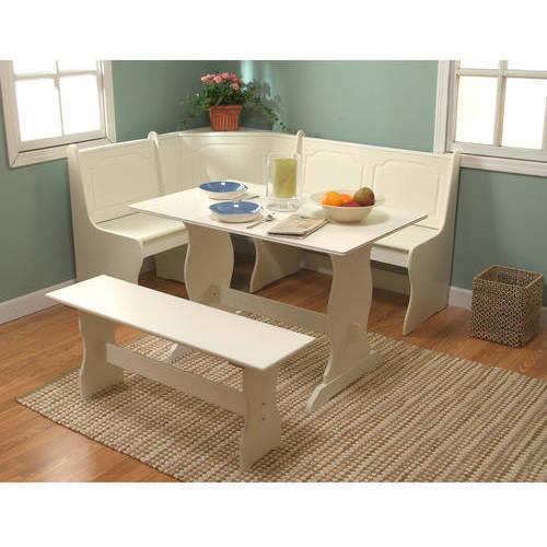 Breakfast Nook 3-Piece Corner Dining Set, Antique White - Walmart.com