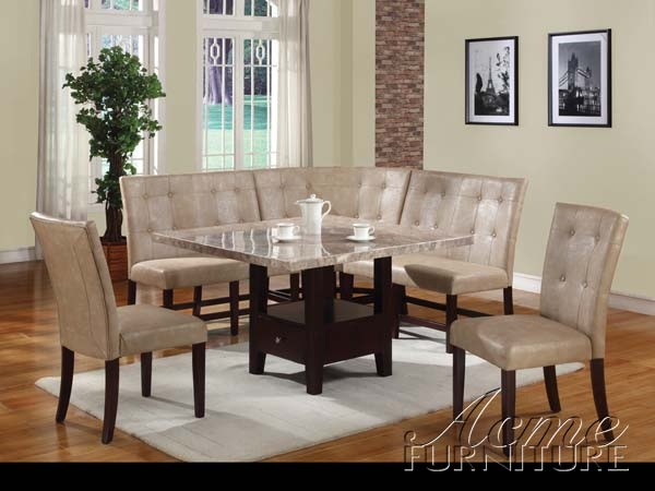 Britney White Marble 6 Piece Corner Dining Set by Acme - 10280