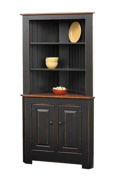 Solid Pine Kitchen Corner Hutch From DutchCrafters Amish Furniture