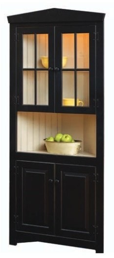 Country Style Corner Hutch with Premium Two-Tone Finish Options