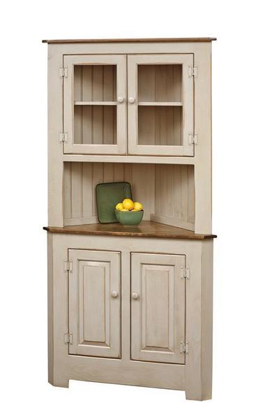 Farmhouse Pine Wood Corner Hutch from DutchCrafters Amish Furniture