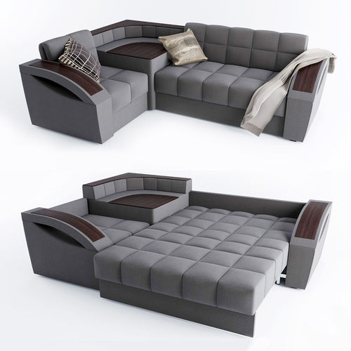 Corner sofa bed Montreal with a left angle Hoff 3D