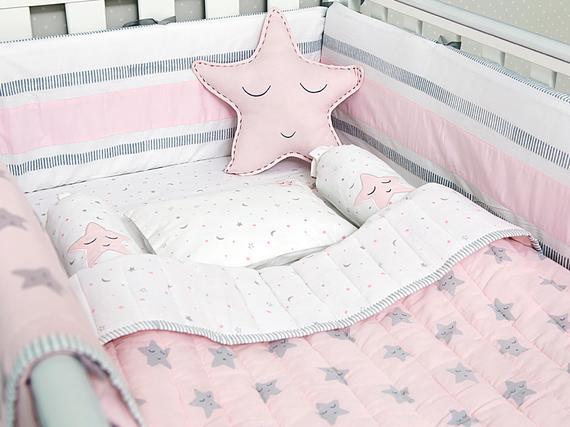 Pink Star Organic Cot Baby Bedding Set | Etsy